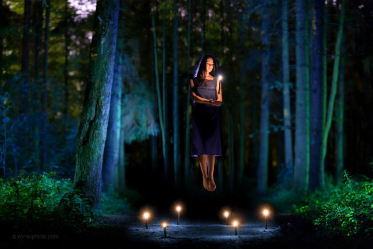 Night witch forest levitation candles