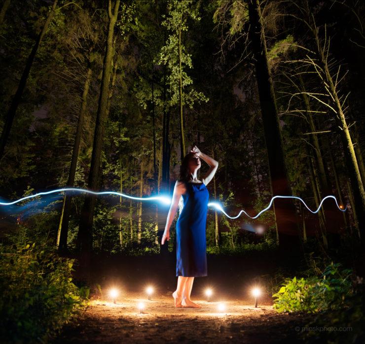 Night forest lightpainting
