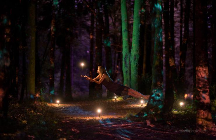 Night forest levitation floating